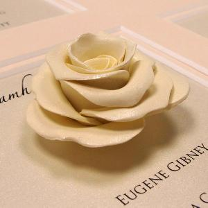 Deatil of one of our Guild Handmade Roses in Ivory with ivory lustre