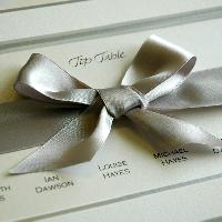 Detail of a hand tied bow created in double faced satin ribbon