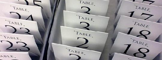 Free standing table number cards waiting for our quality checks