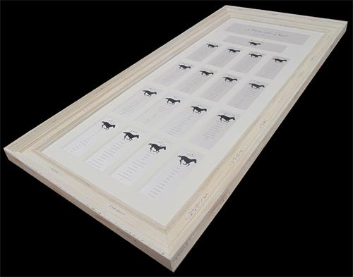 Multi aperture table plan with laser cut race horses for a wedding of racing enthusiasts