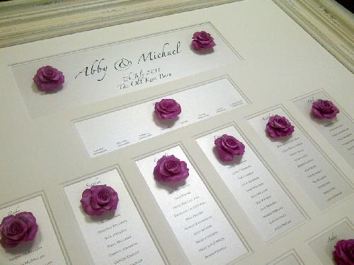 Fuchsia pink Guild Handmade Roses made to coodinate with the wedding invitation