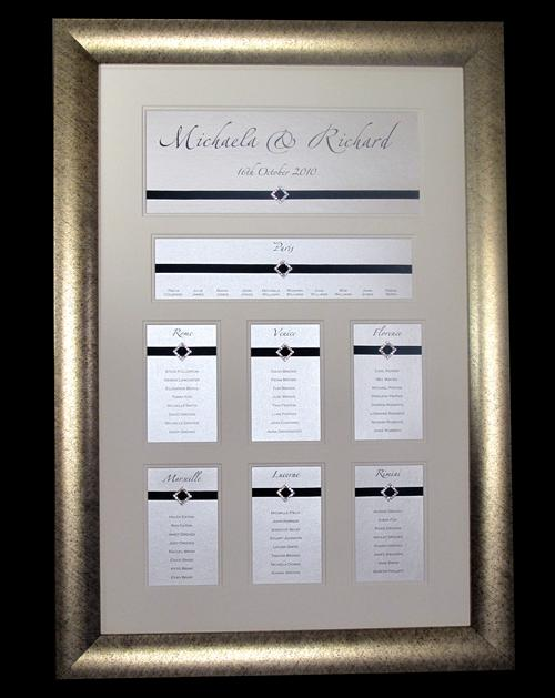 A Multi Aperture table plan created with diamond shaped diamante buckles for a black tie and diamonds themed day